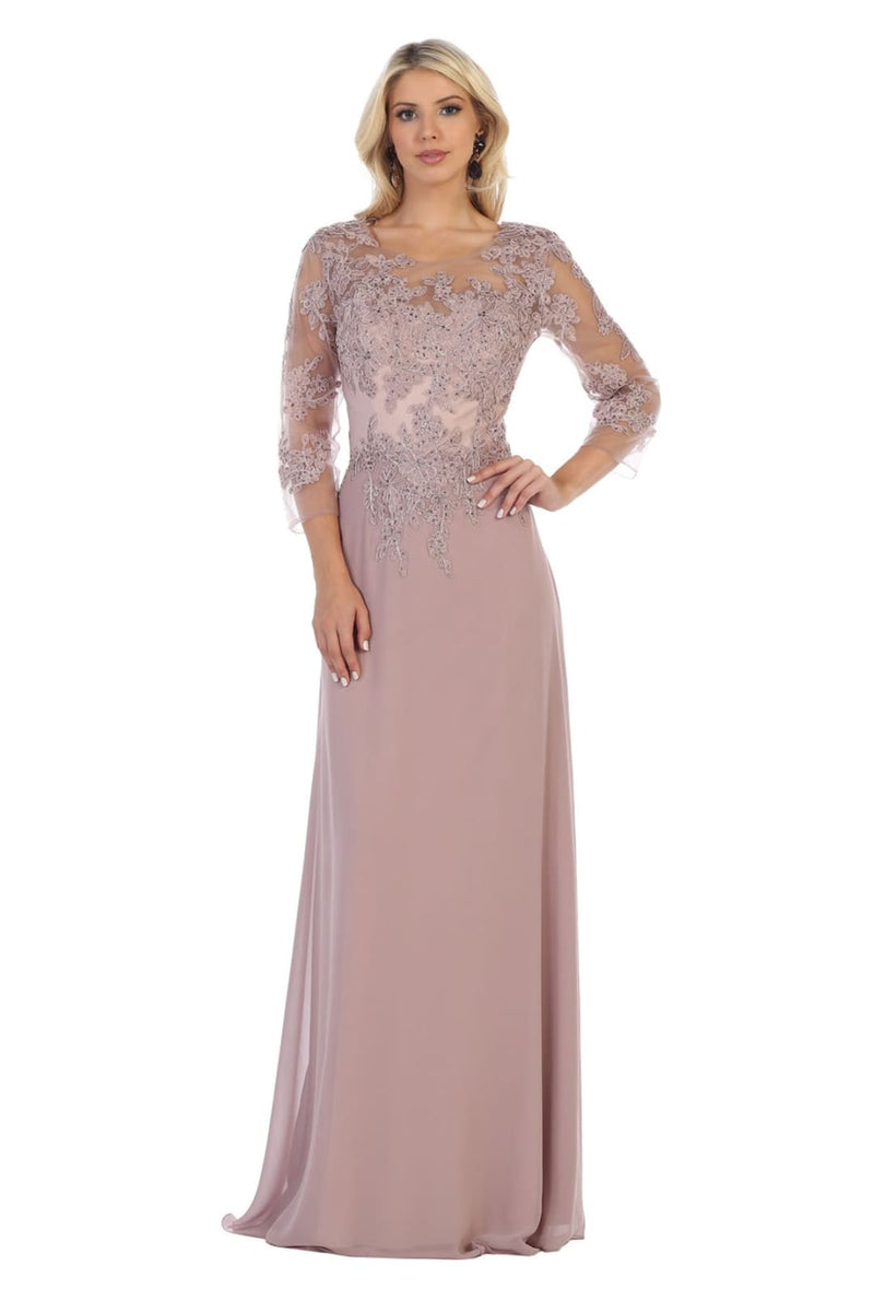 Mother of the Bride Embroidered Gown - Mauve / M