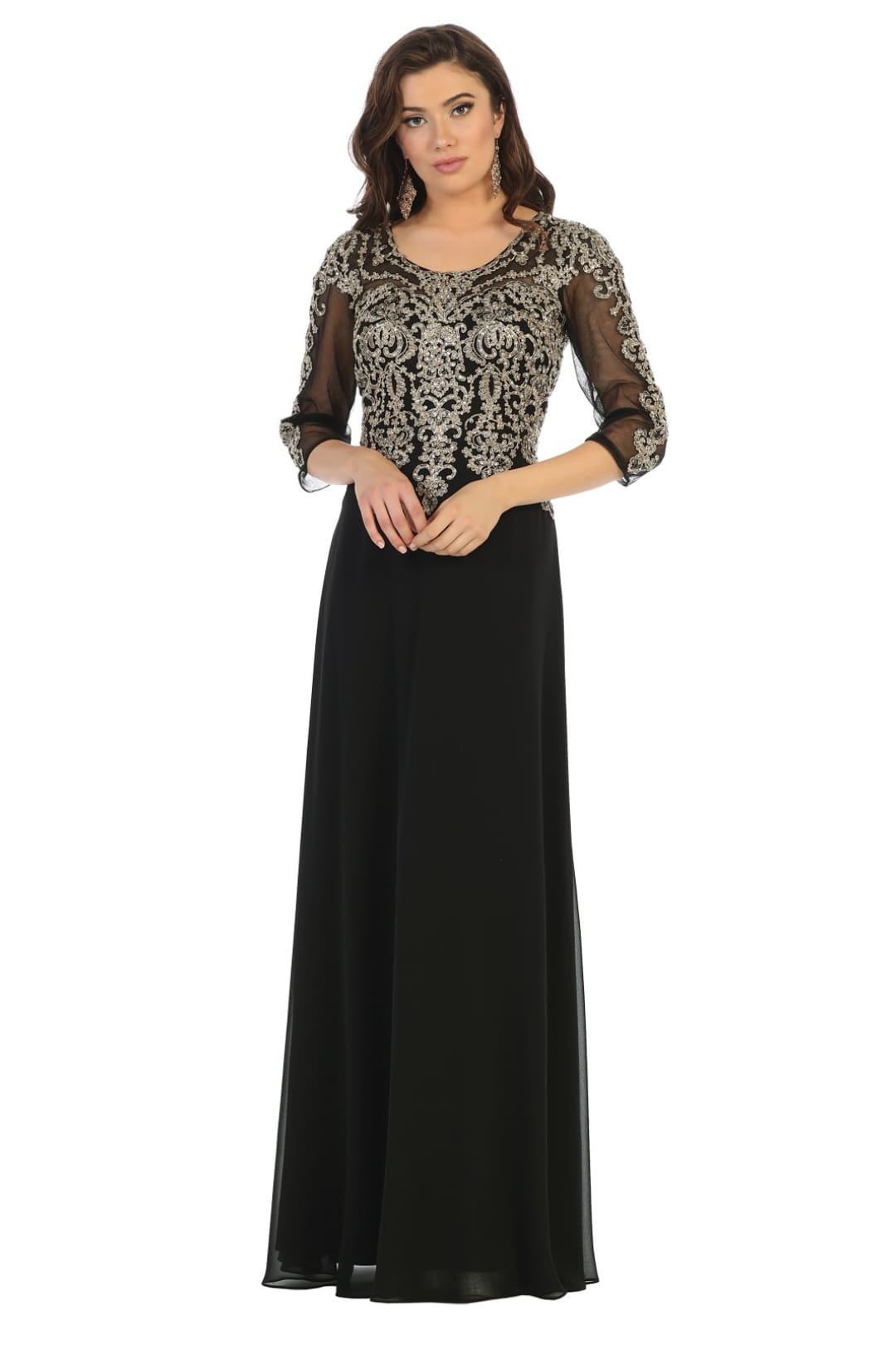 Mother Of The Bride Lace Gown - Black/Gold / M