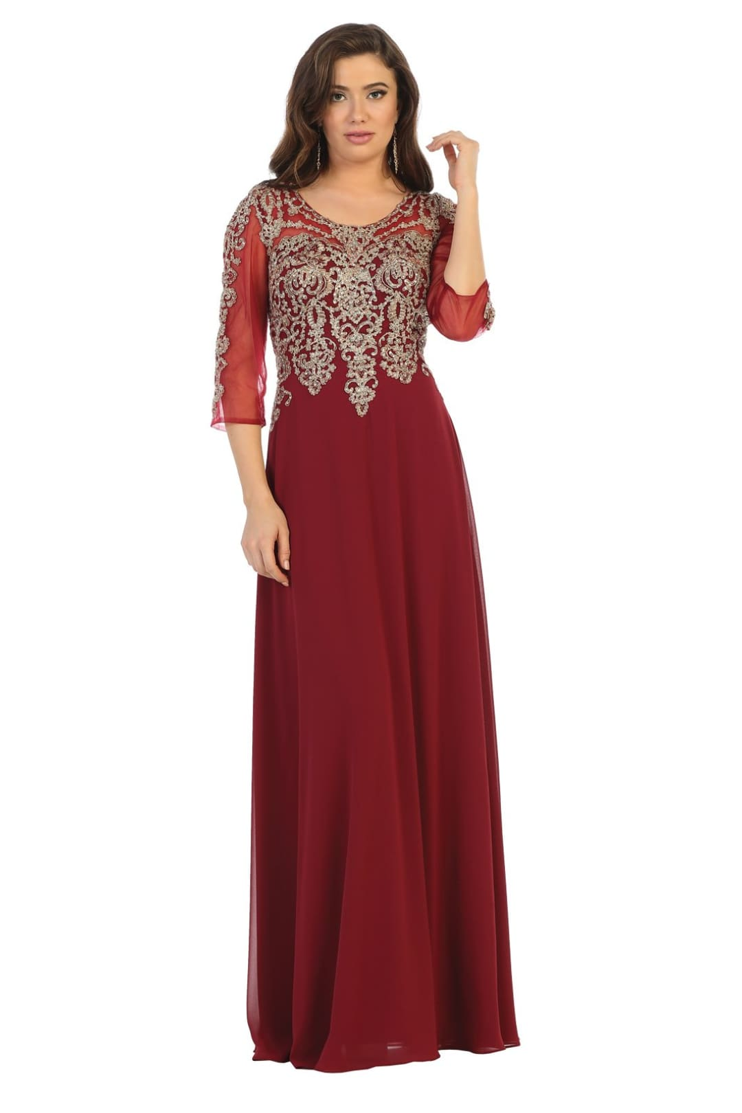 Mother Of The Bride Lace Gown - Burgundy/Gold / M