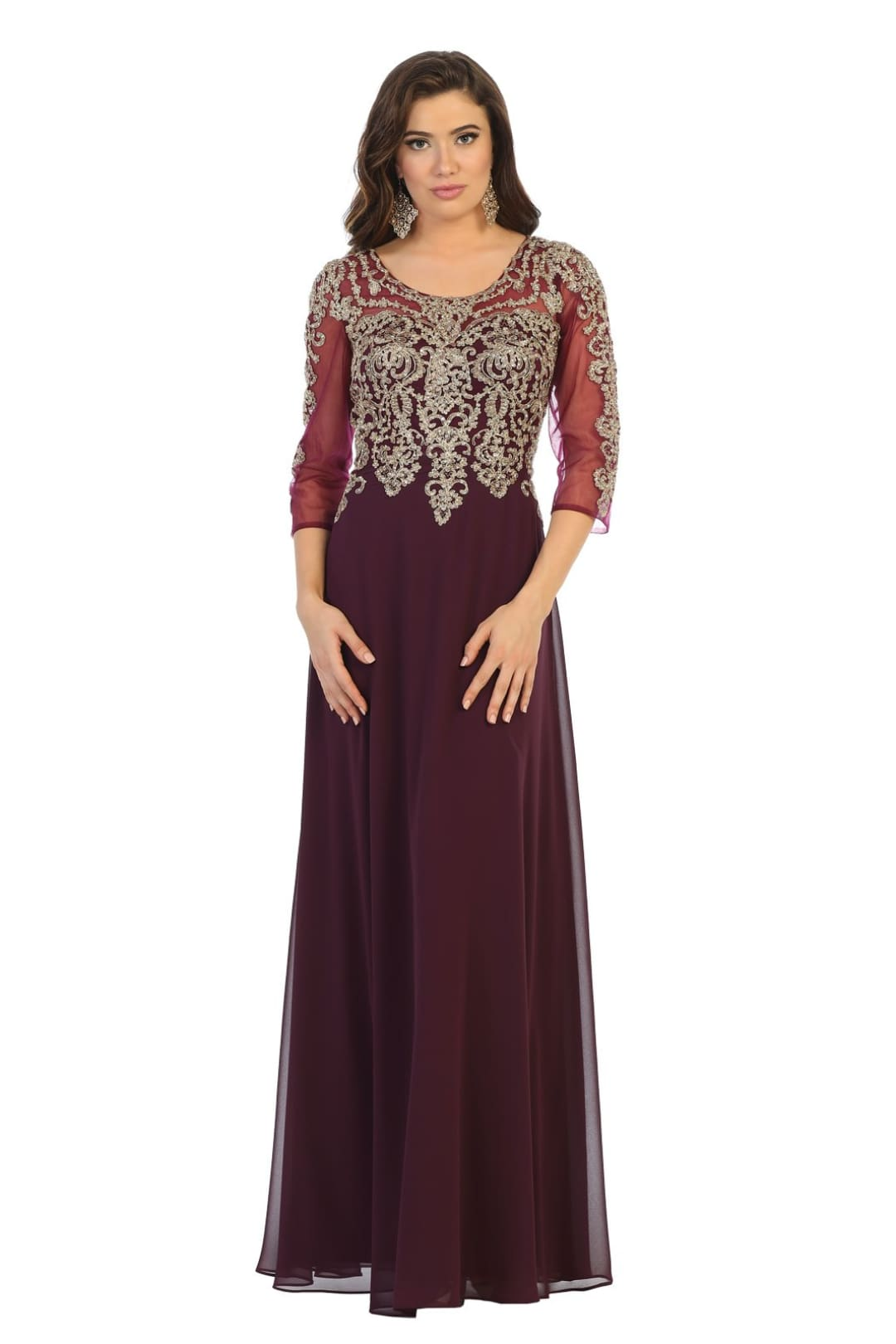 Mother Of The Bride Lace Gown - Eggplant/Gold / M