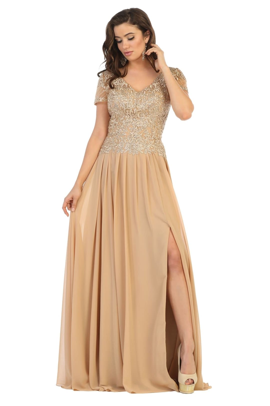 Mother of the Bride Short Sleeve Gown - Gold / M