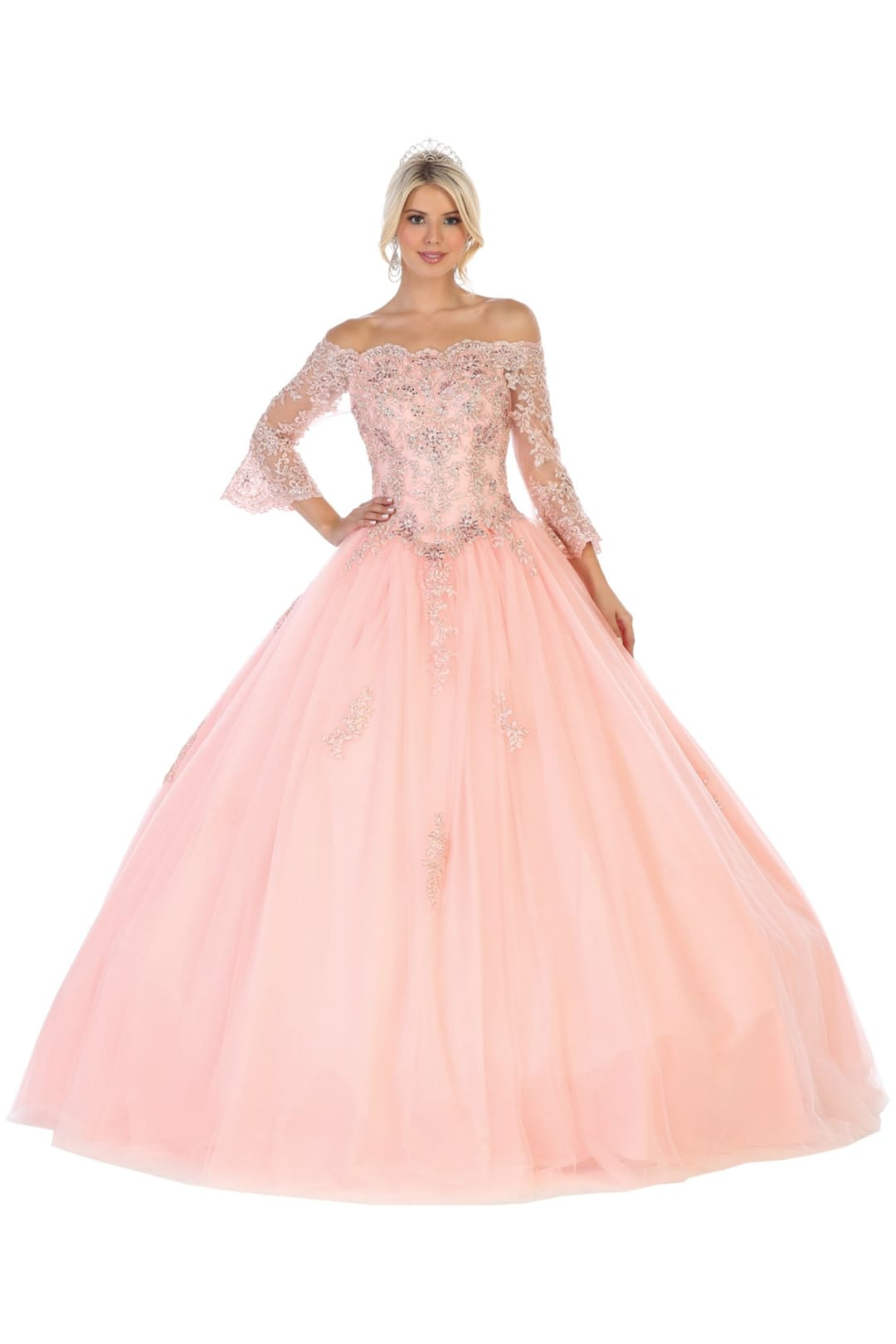 Off-Shoulder Bridal Ball Gown - Blush / 4