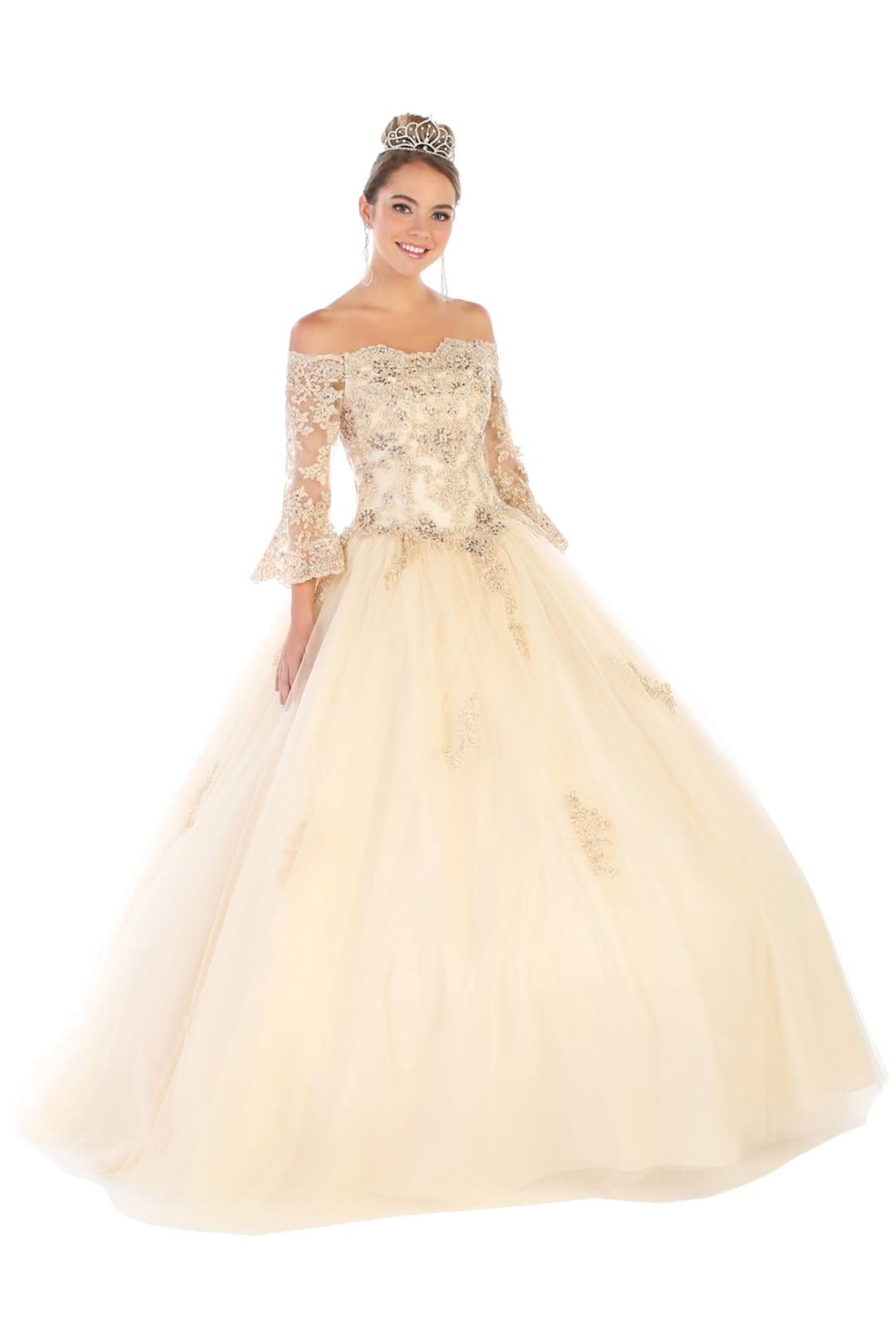 Off-Shoulder Bridal Ball Gown - Champagne / 4