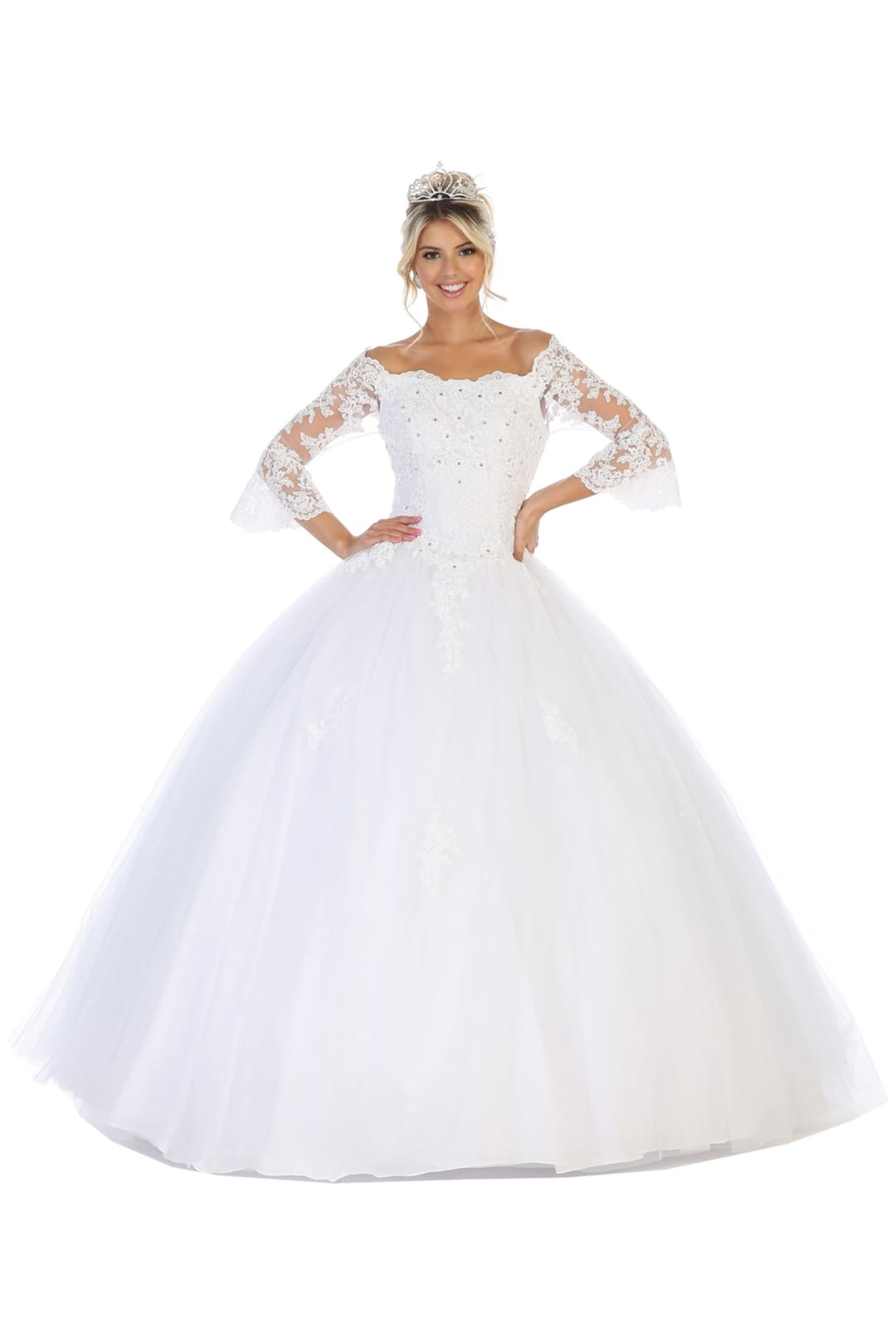 Off-Shoulder Bridal Ball Gown - White / 4