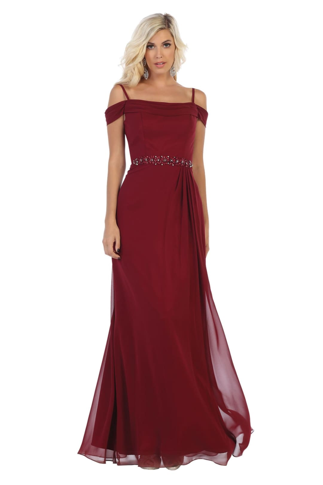 Off Shoulder Chiffon Dress - Burgundy / 6