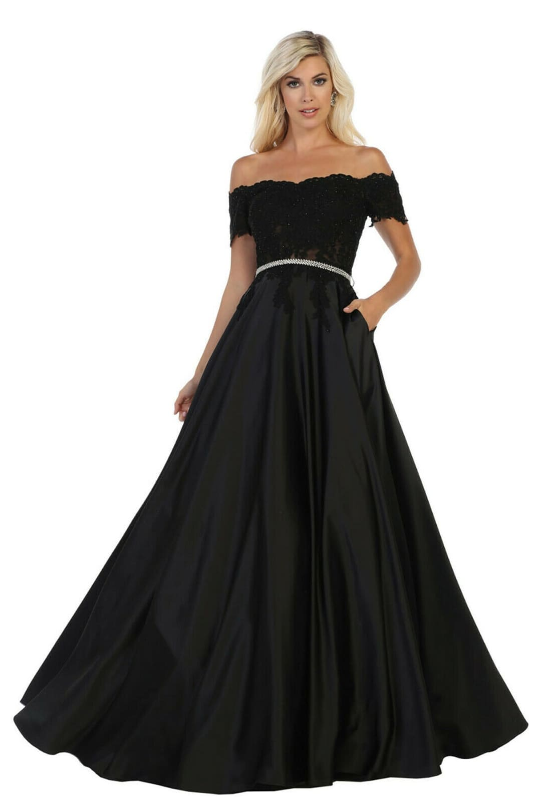 Off Shoulder Evening Gown - Black / 4
