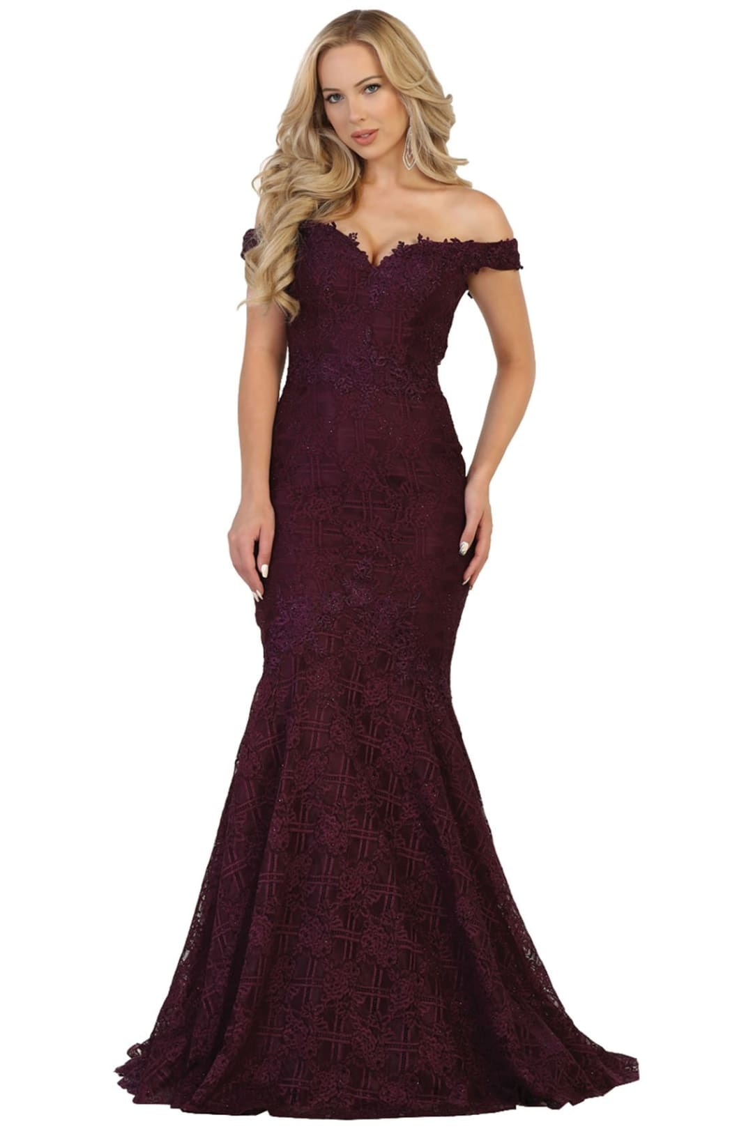 Off-Shoulder Formal Gown - Eggplant / 12
