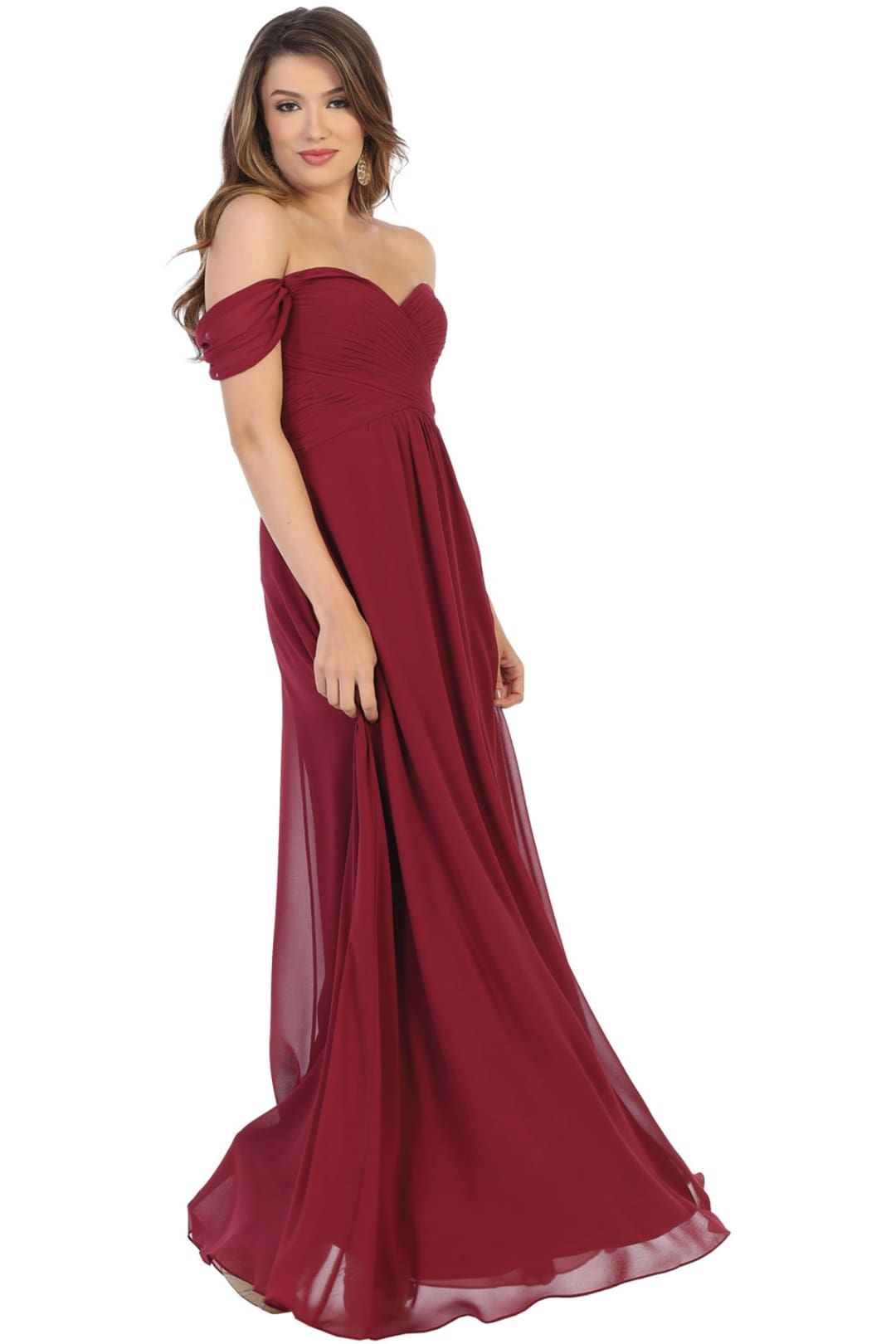 Off Shoulder Homecoming Gown - Burgundy / 4