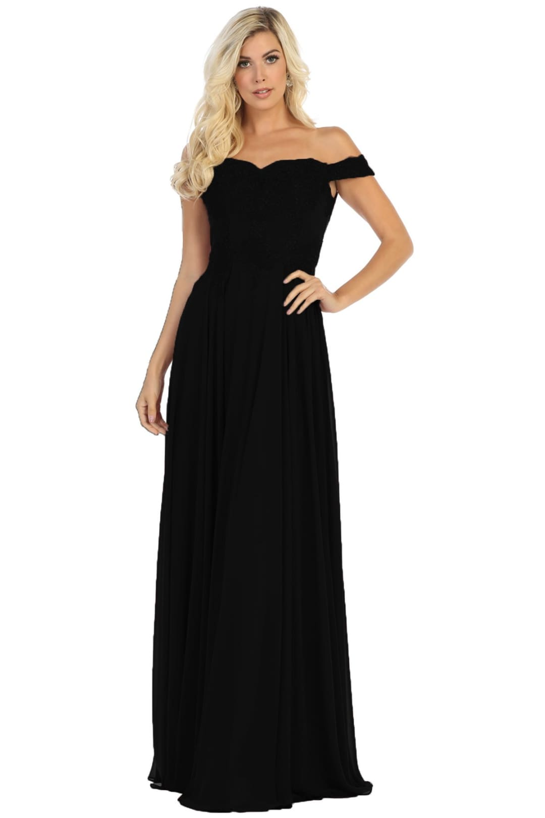 Off Shoulder Prom Dress - Black / 2