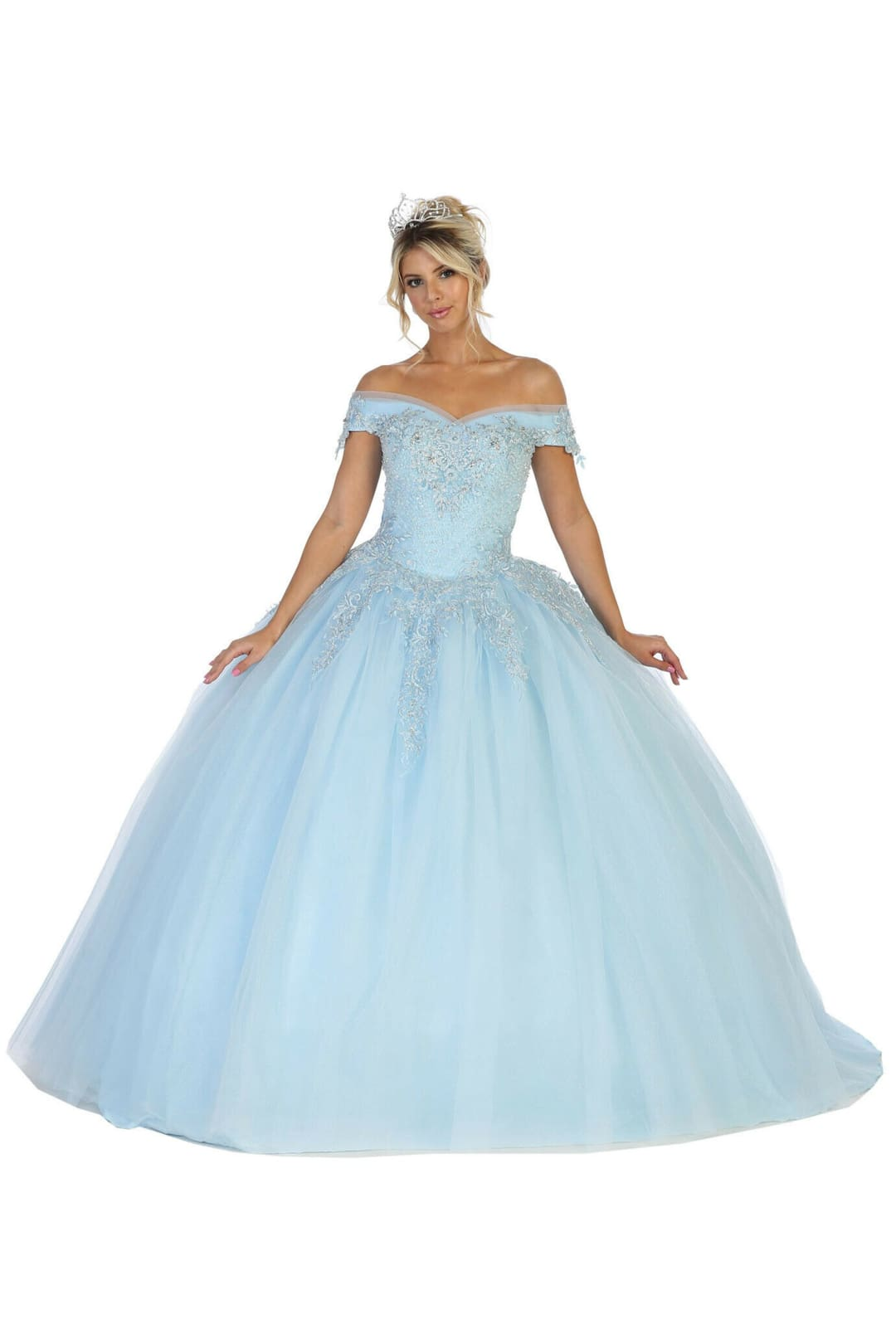 Off Shoulder Quinceañera Ball Gown - BABY BLUE / 2