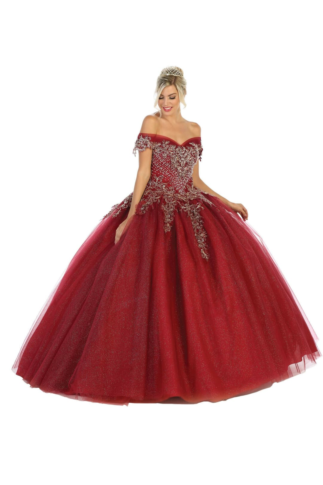 Off Shoulder Quinceañera Ball Gown - BURGUNDY / 2