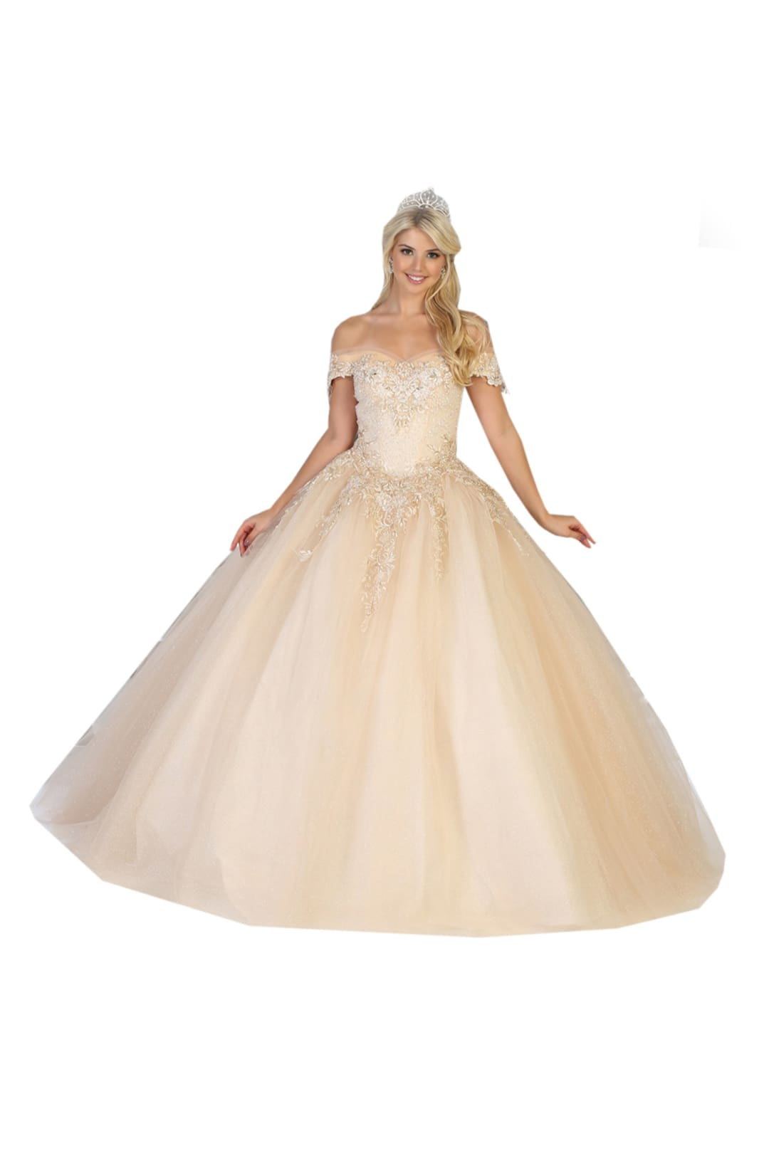 Off Shoulder Quinceañera Ball Gown - CHAMPAGNE / 2