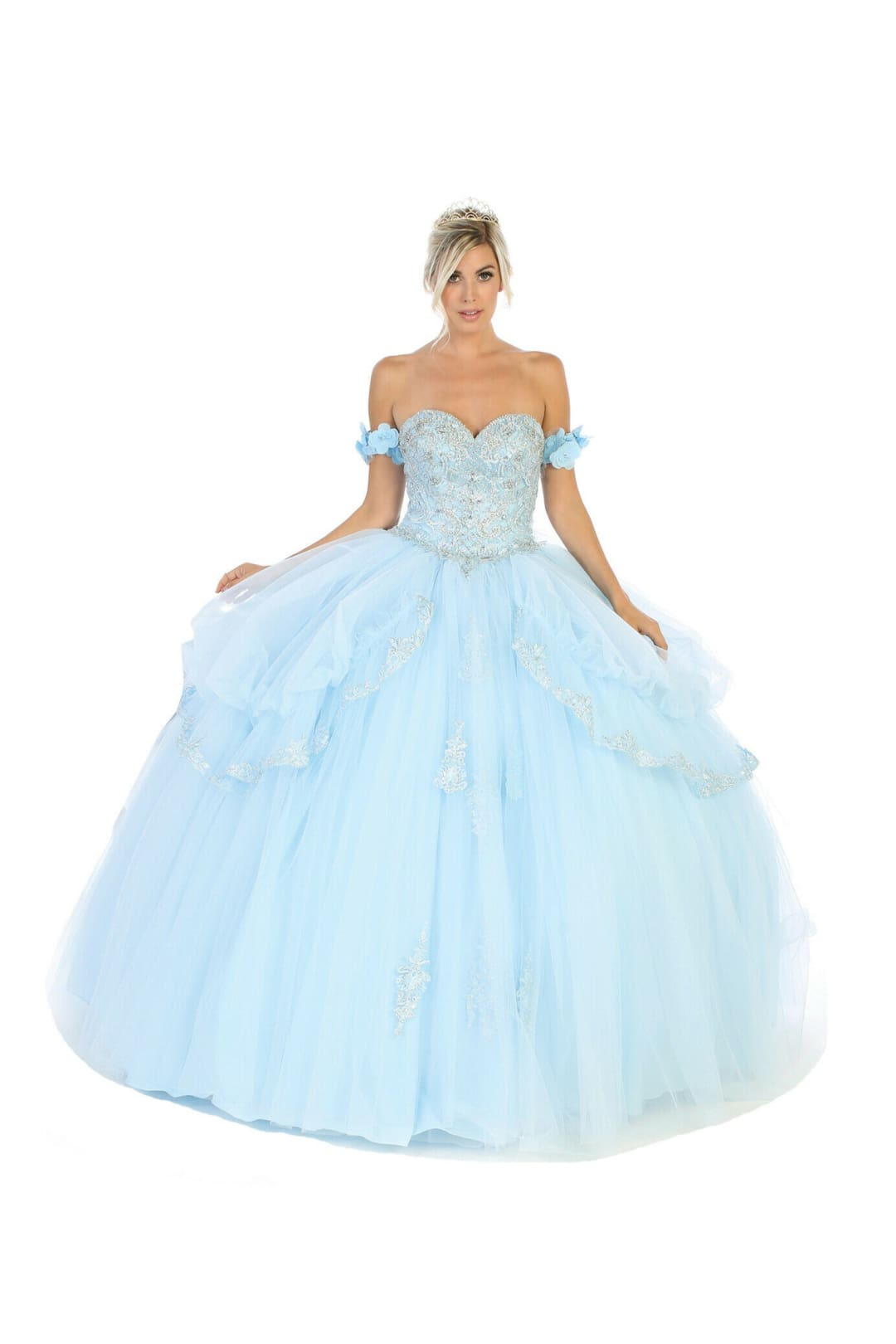 Off Shoulder Sweetheart Ball Gown - BABY BLUE / 2