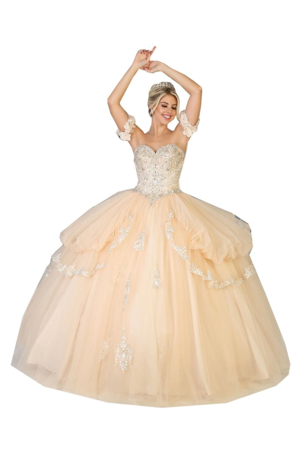 Off Shoulder Sweetheart Ball Gown - CHAMPAGNE / 2