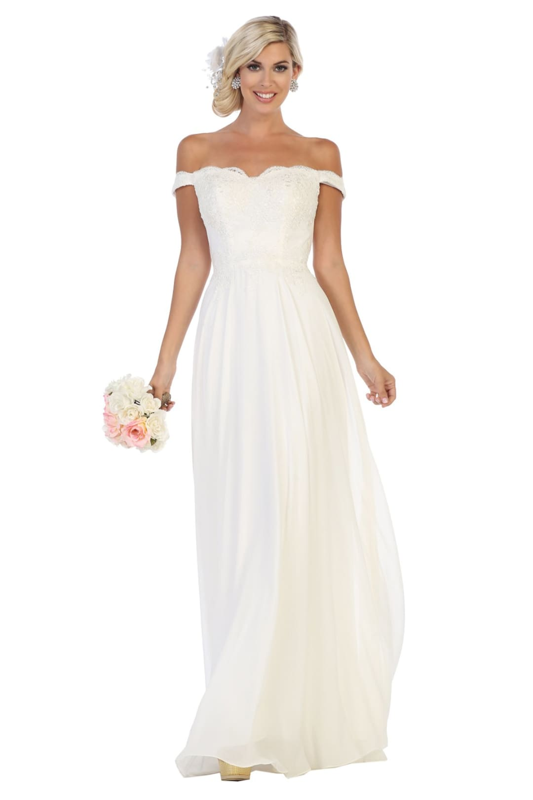 Off Shoulder Wedding Gown - Ivory / 2