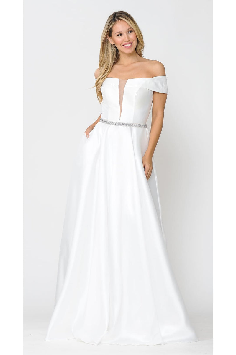 Off The Shoulder Formal Wedding Gown - OFF WHITE / XS
