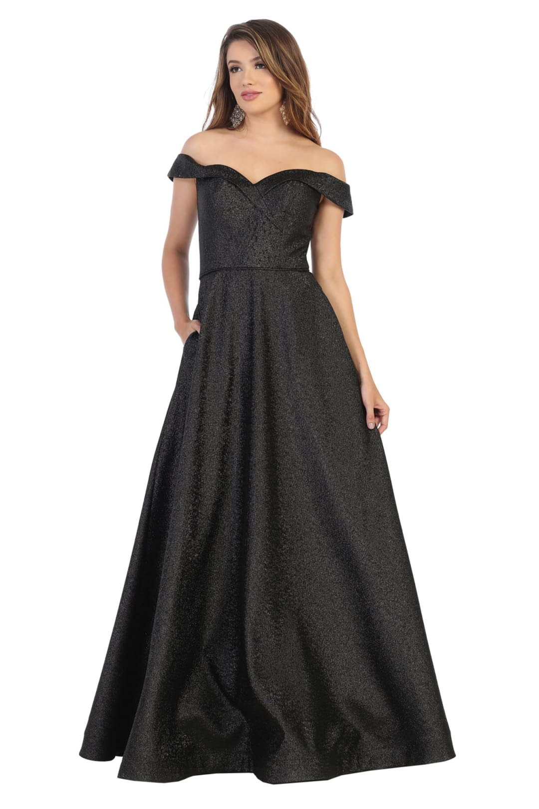 Off The Shoulder Prom Dresses And Plus Size - BLACK / 4