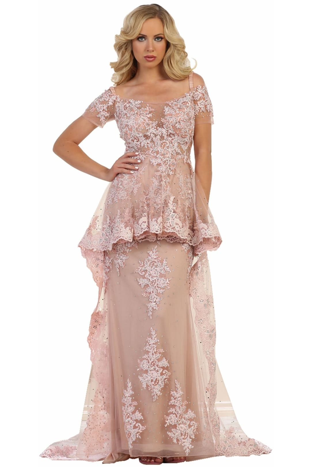 Peplum Evening Gown - Dusty Rose / 4