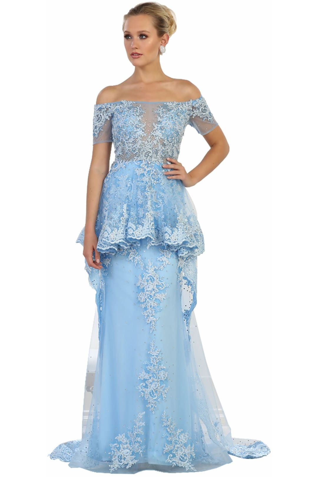 Peplum Evening Gown - Periwinkle / 4