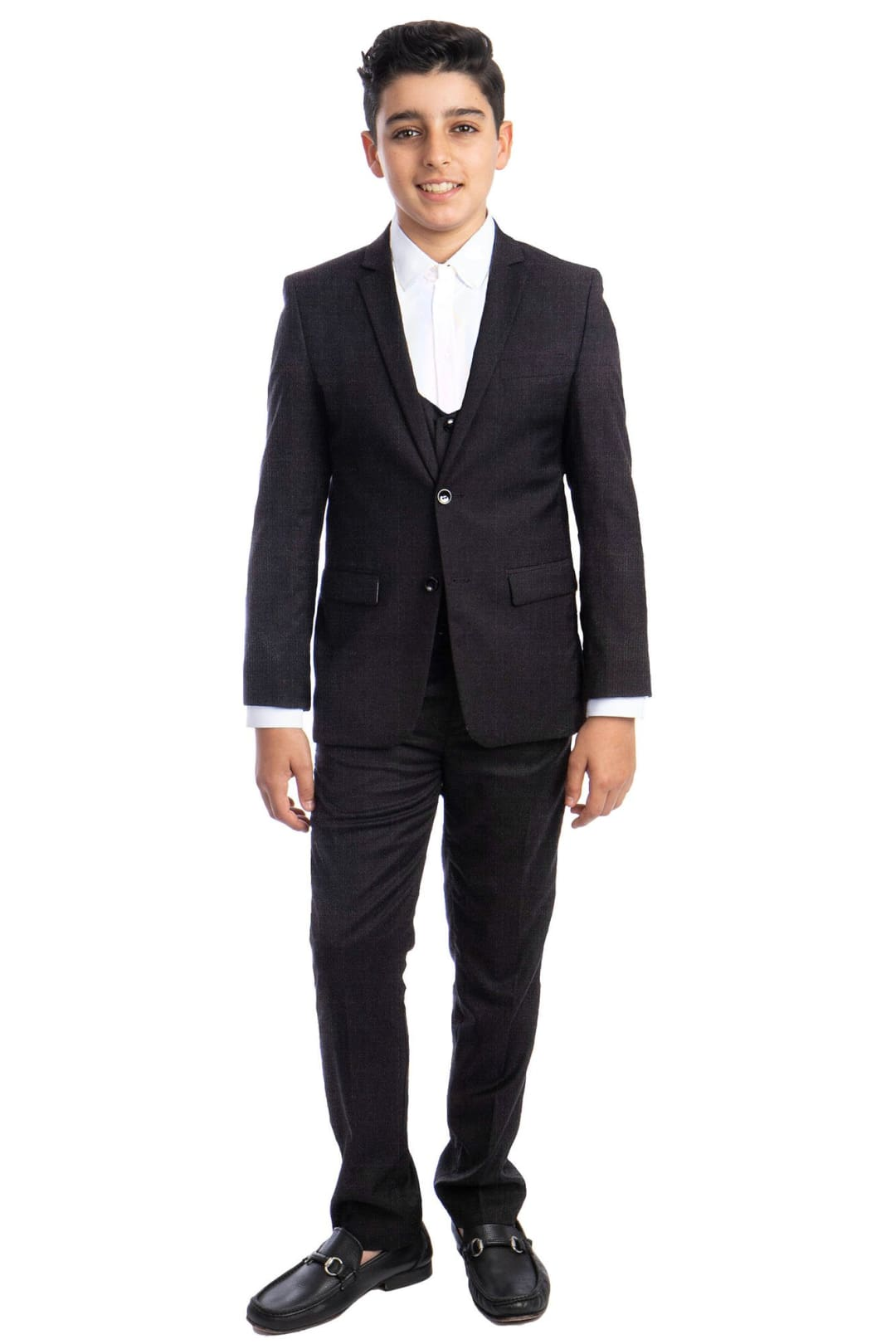 Perry Ellis Boys Slim Fit Suit - DARK GREY / 2 - Mens Suits