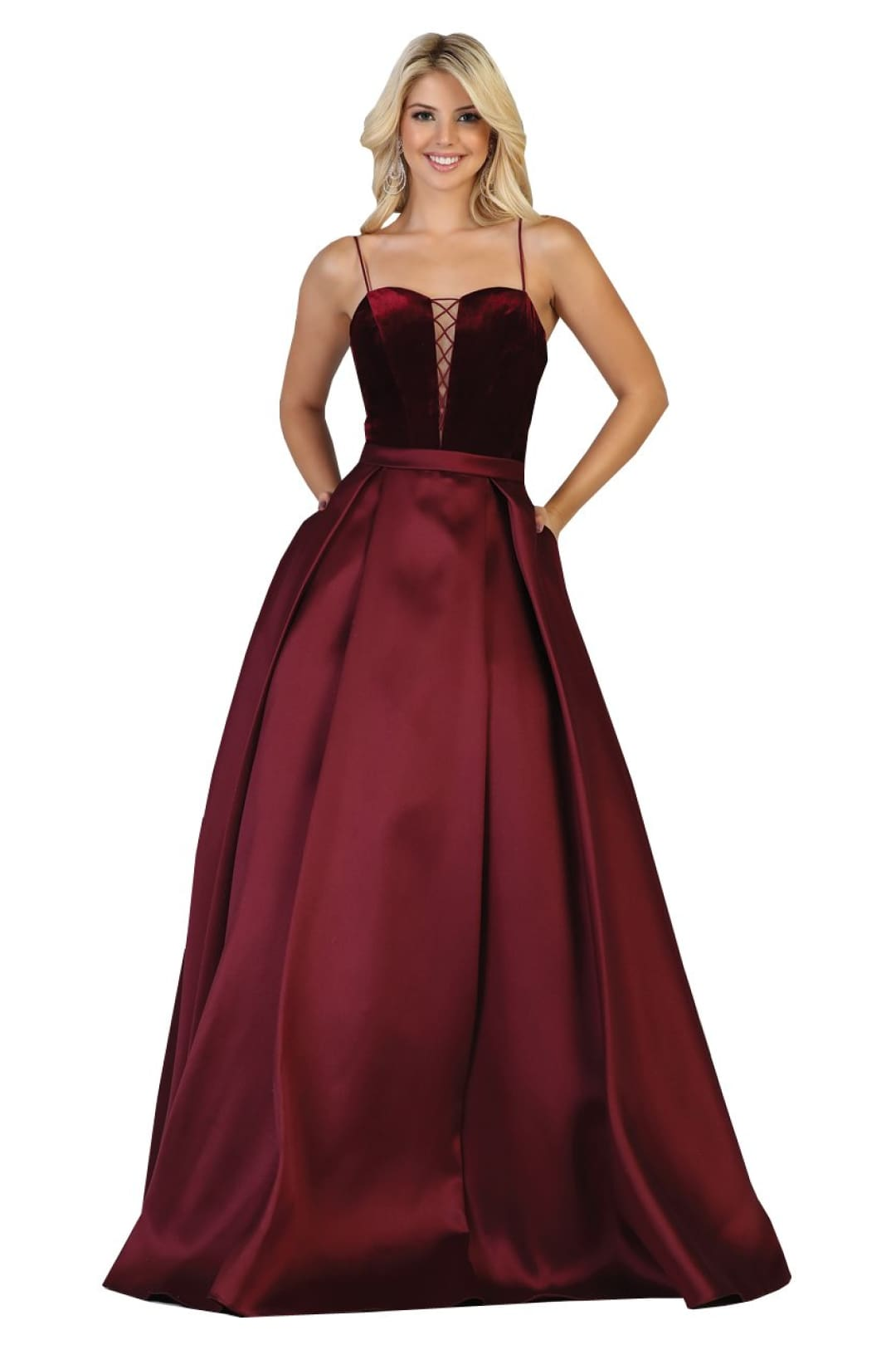 Pleated Satin Prom Dress - Burgundy / 4