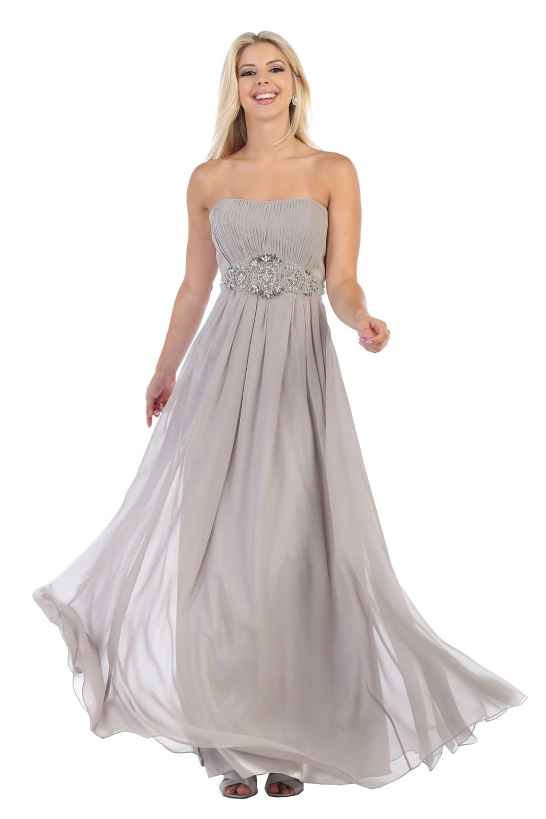 Popular Strapless Bridesmaid Dress - SILVER / 4