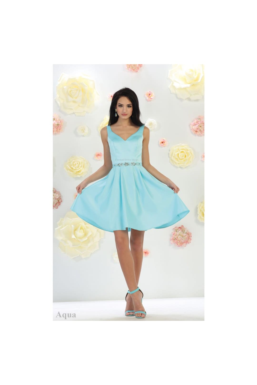 Prom Cocktail Dress - AQUA / 4