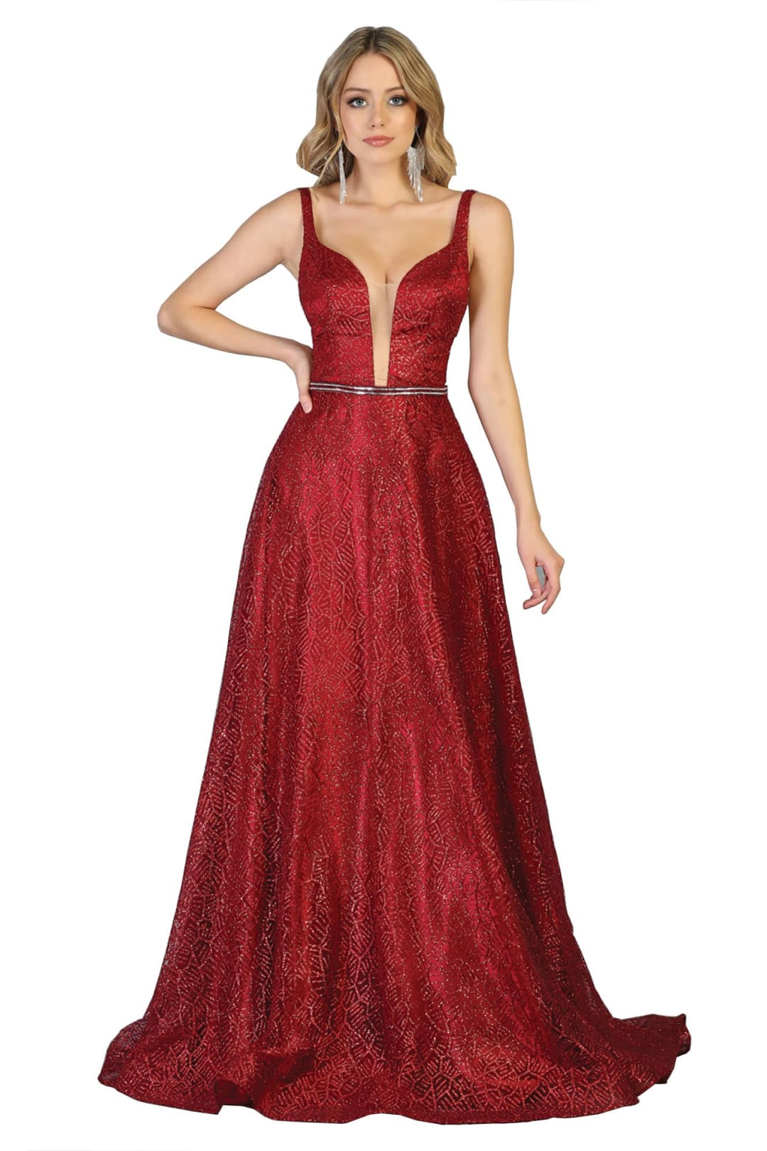 Prom Long Formal Dresses - BURGUNDY / 4