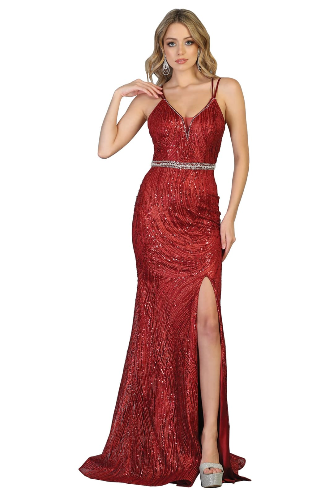 Prom Long Sexy Gown And Plus Size - BURGUNDY / 2