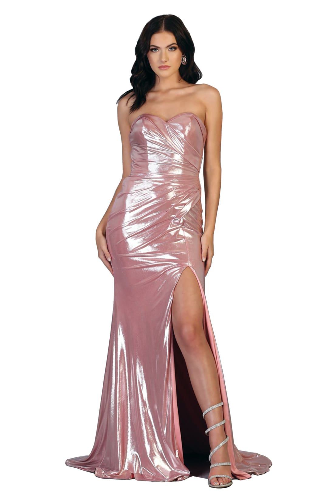 Prom Metallic Long Dresses - DUSTY ROSE / 4