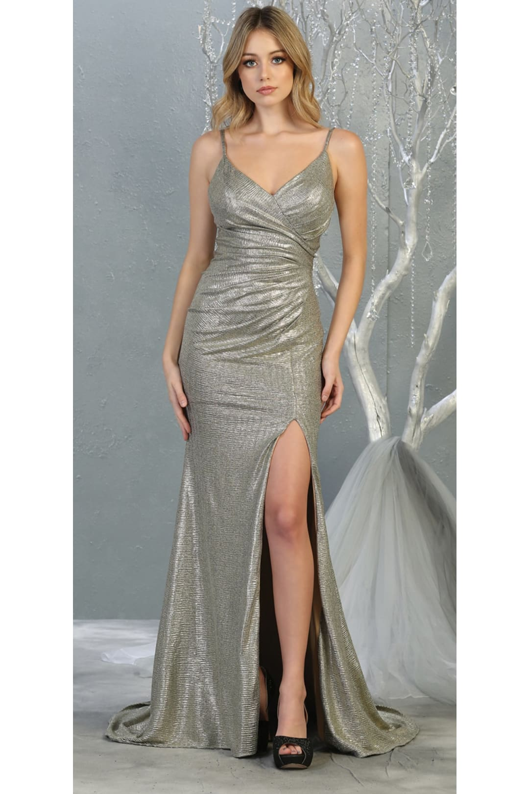 Prom Shiny Long Dresses and Plus Size - CHAMPAGNE / 4