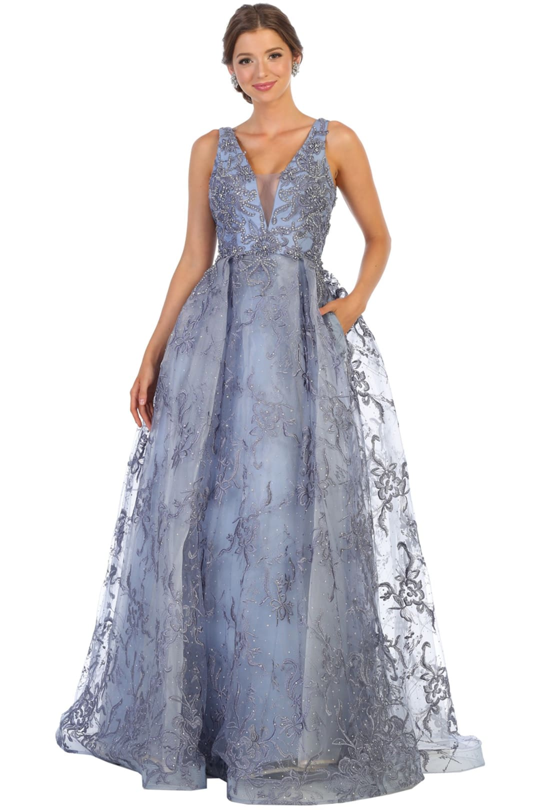 Red Carpet Formal Dresses And Plus Size - DUSTY BLUE / 4
