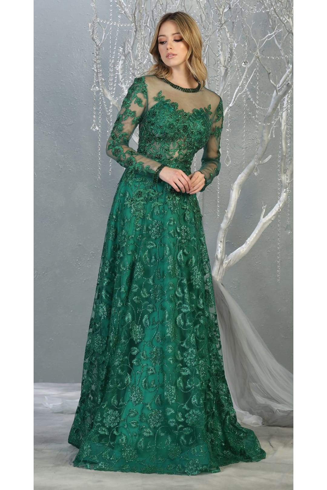 Red Carpet Long Sleeve Formal Evening Gown