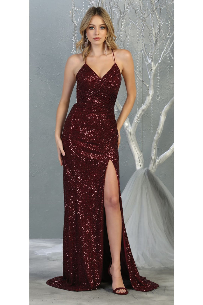 Sequined Prom Long Dress And Plus Size - BURGUNDY / 2