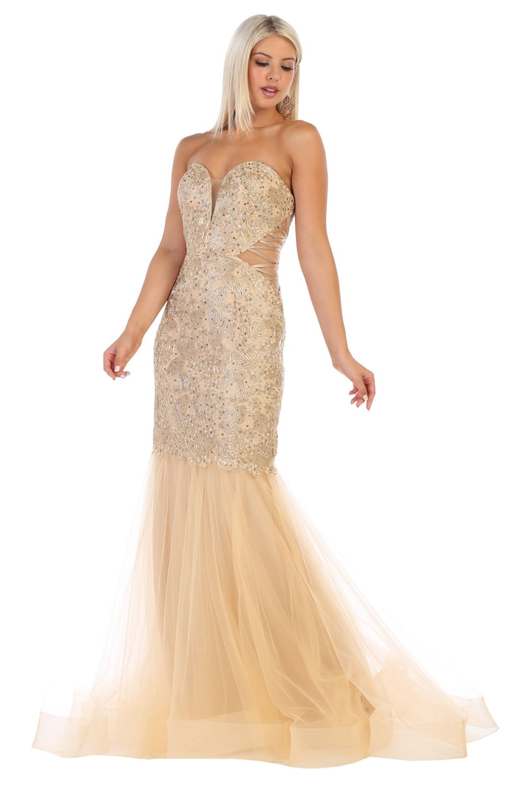 Sexy Fitted Gala Dress - Gold / 2