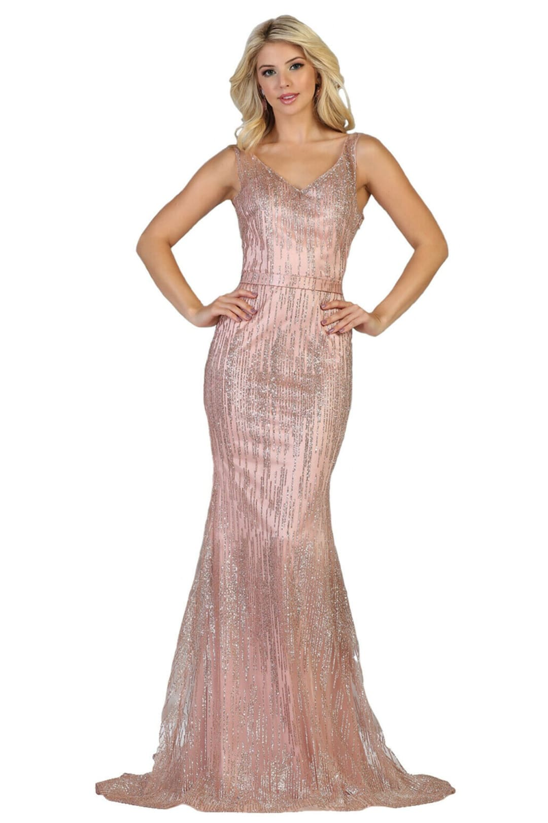 Shimmering Pageant Evening Gown - Rose Gold / 4