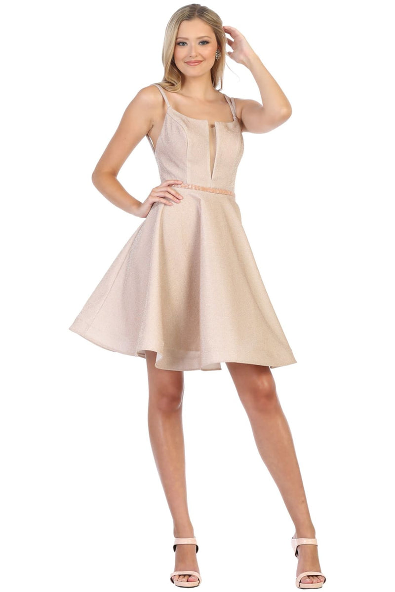 Shimmering Short Homecoming Dress - Champagne / 4