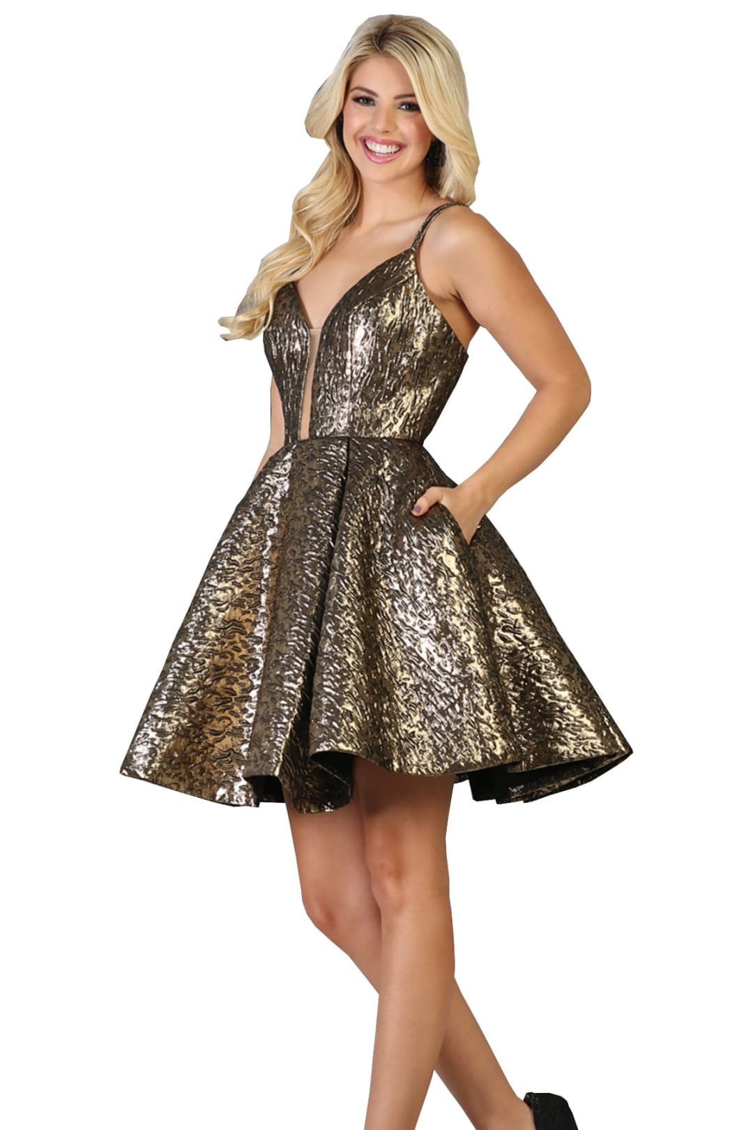 Shiny Homecoming Dress - Bronze / 4