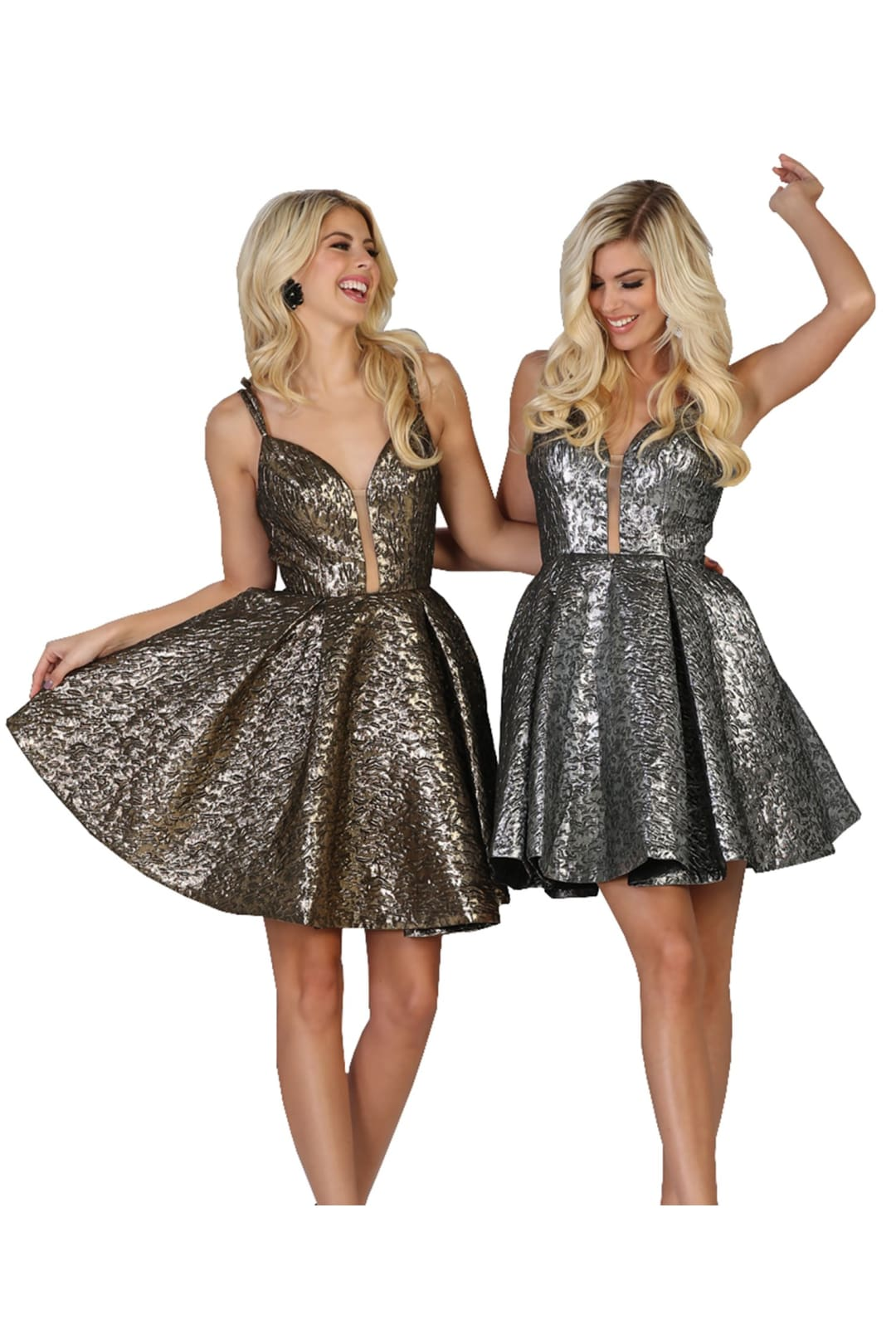 Shiny Homecoming Dress - Silver / 4
