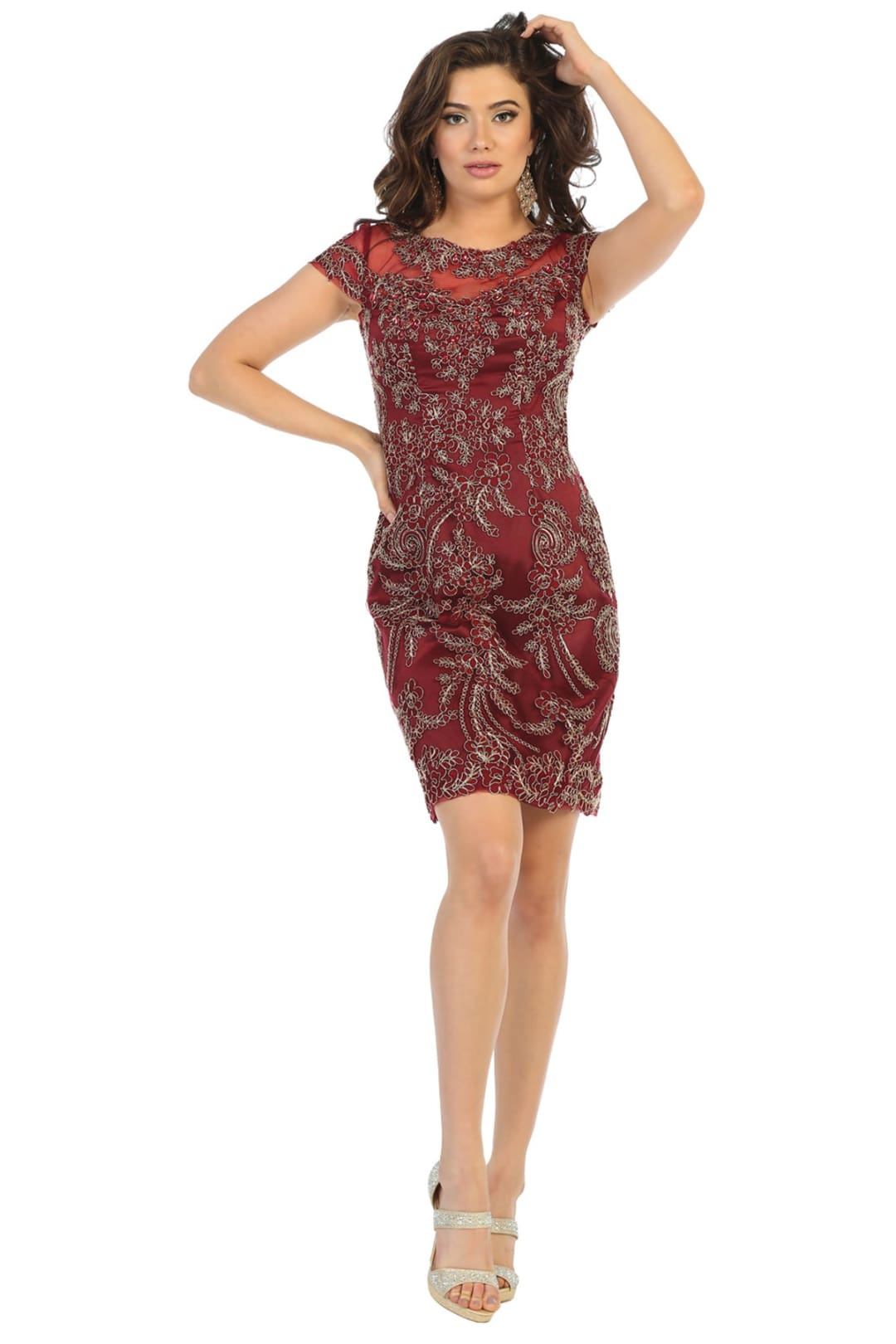 Short Cocktail Party Dress - Burgundy / M