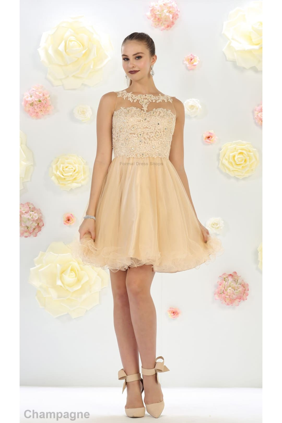 Short Cute Cocktail Dress - Champagne / 20