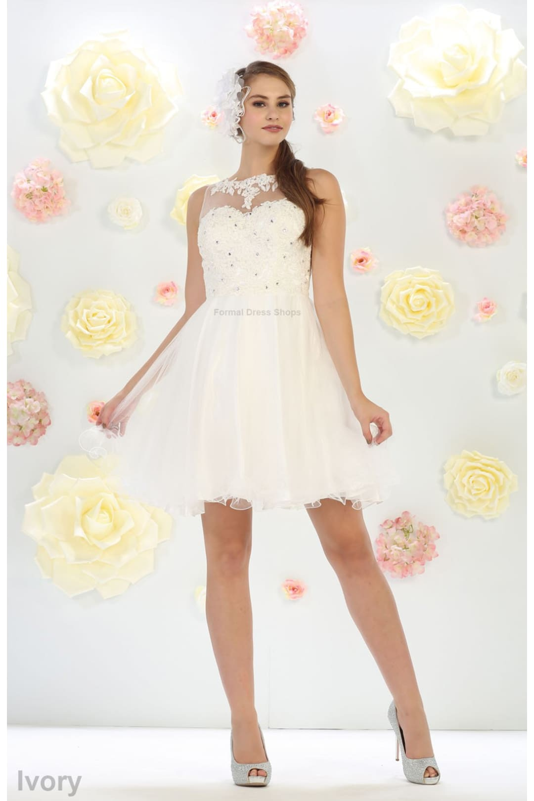 Short Cute Cocktail Dress - Ivory / 14