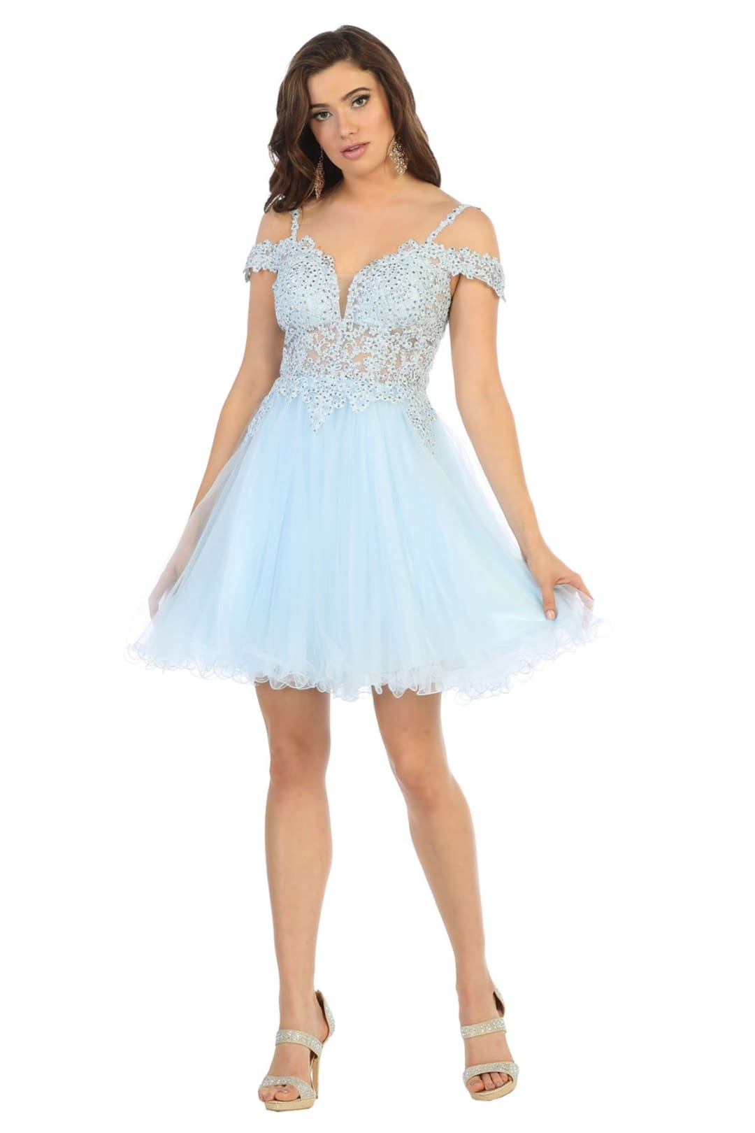 Short Evening Prom Dress - Baby Blue / 2