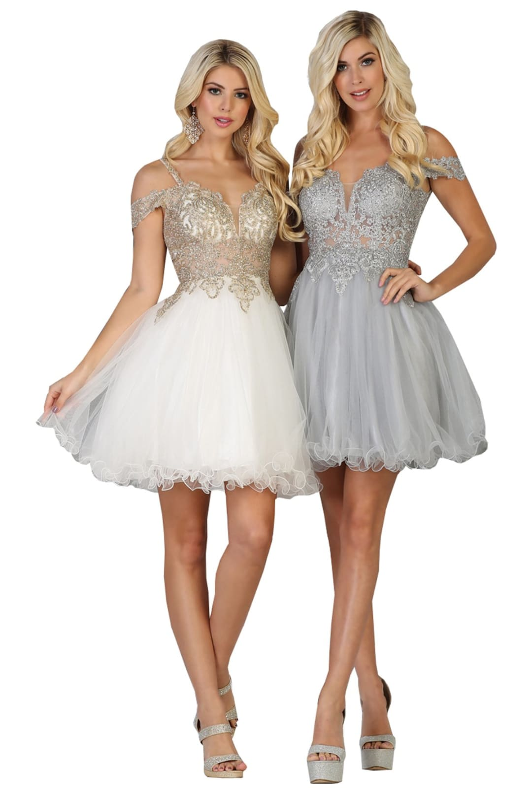 Short Evening Prom Dress - Ivory / 10