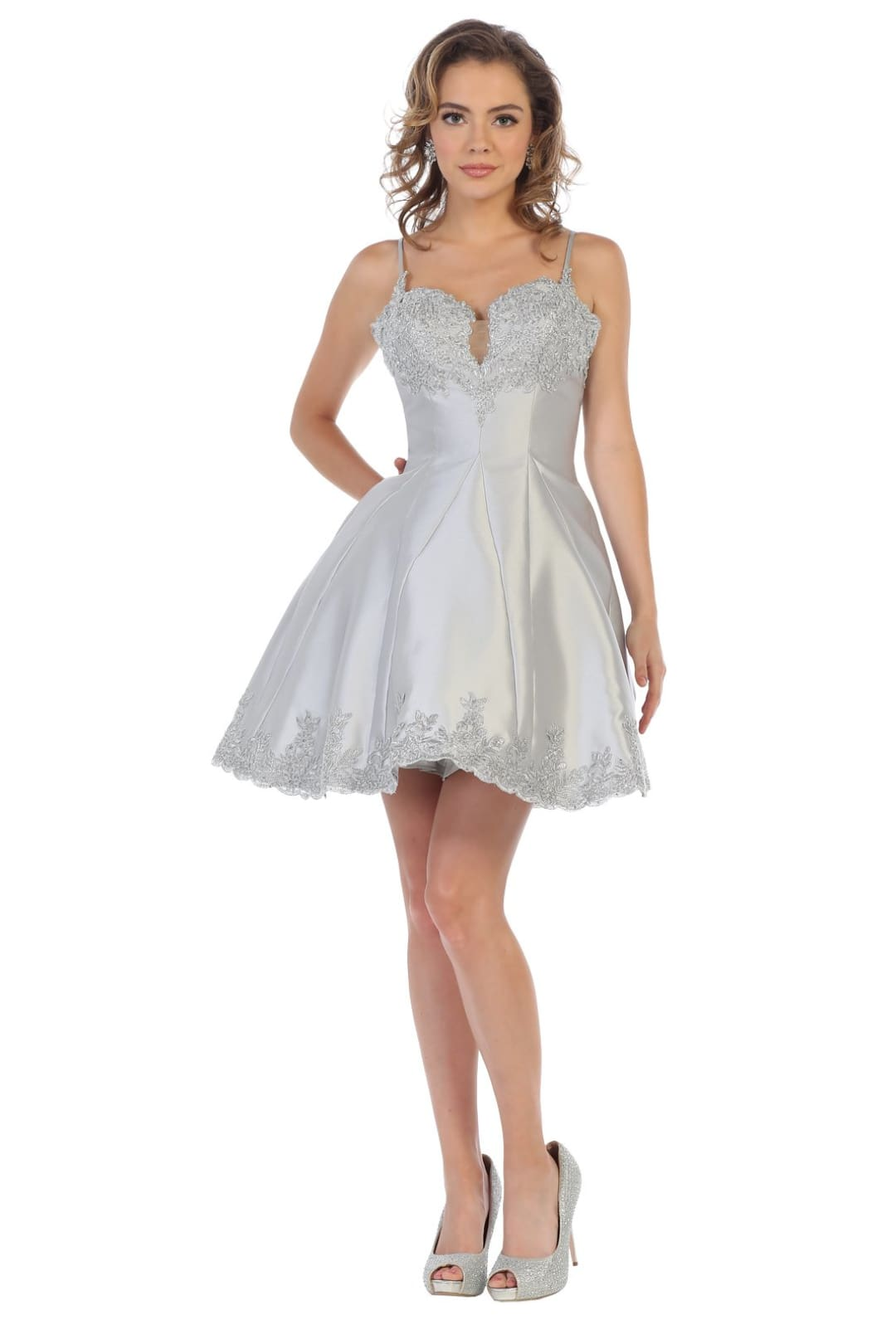 Short Party Dress - Silver/Silver / 4