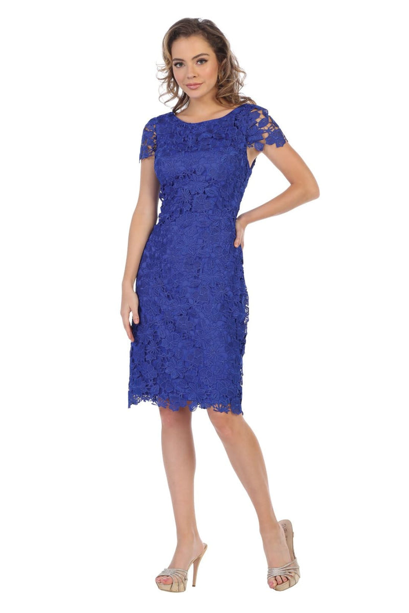Short Sleeve Mother of the Groom Dress - Royal Blue / M