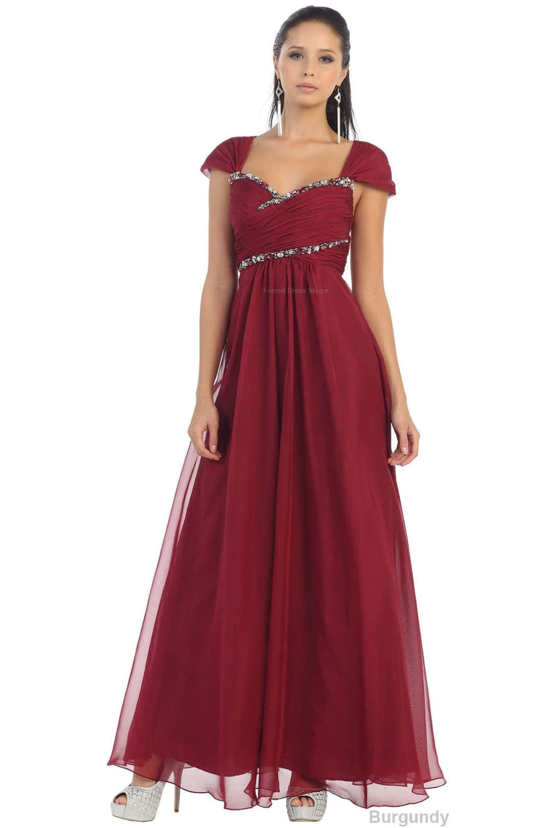 Simple Formal Dress - Burgundy / 4