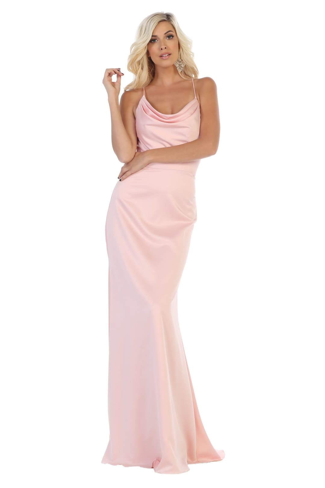 Simple Satin Gown Under $100 - Blush / 2