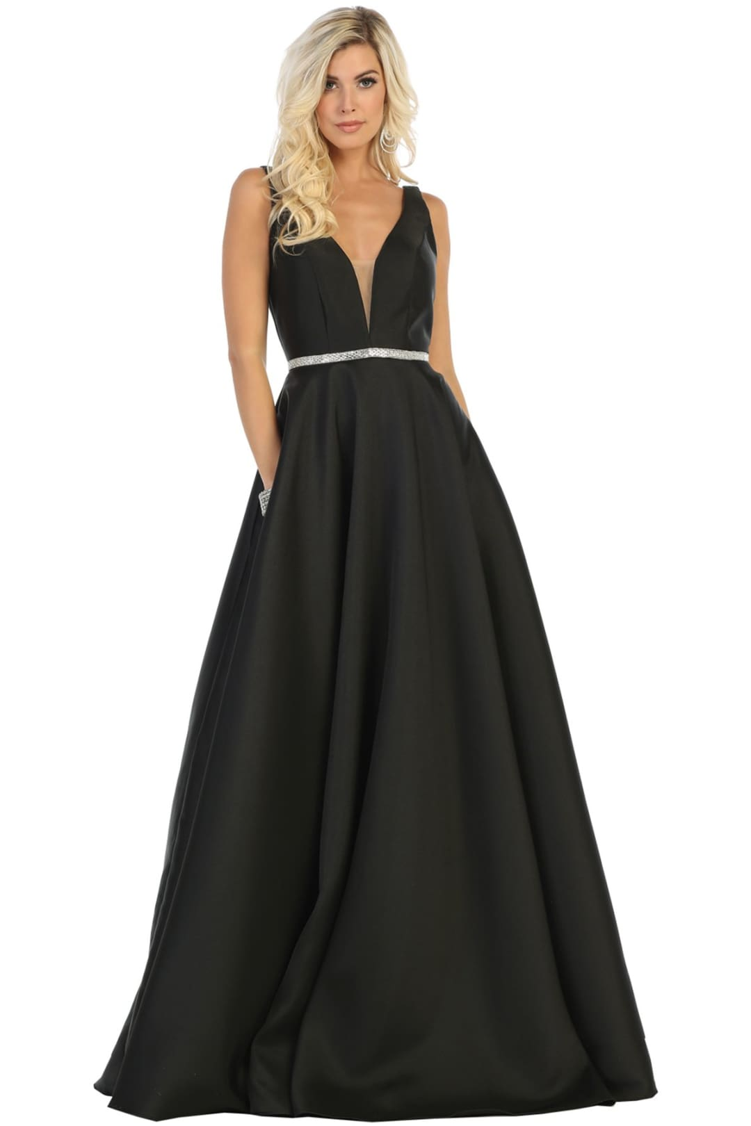 Simple Sleeveless Prom Dress - Black / 4