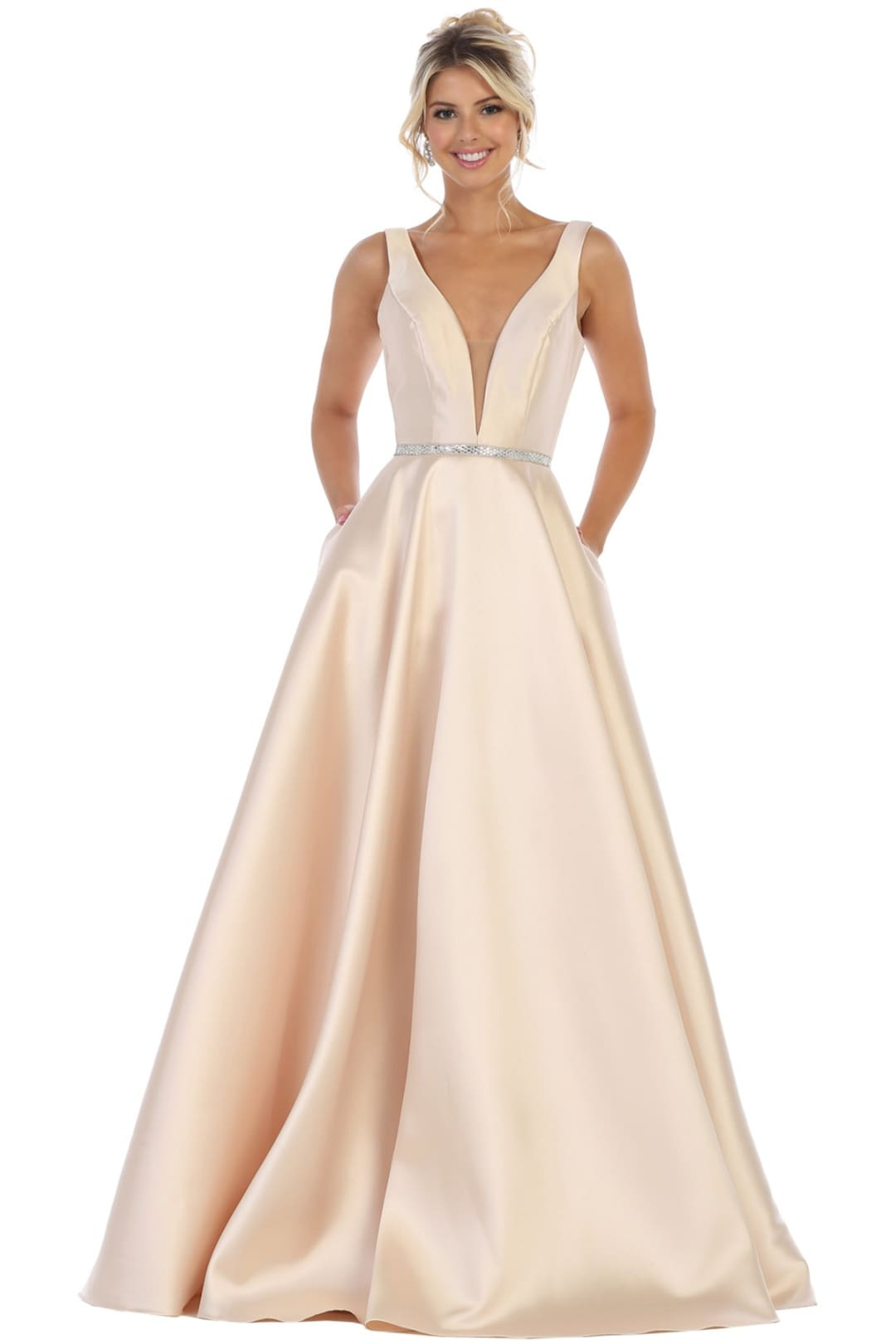 Simple Sleeveless Prom Dress - Champagne / 4